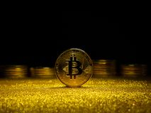 Bitcoin. Crypto currency Gold Bitcoin, BTC. Macro shot of Bitcoin coins. Blockchain technology, bitcoin mining concept. Bitcoin. Crypto currency Gold Bitcoin stock images
