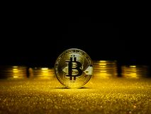 Bitcoin. Crypto currency Gold Bitcoin, BTC. Macro shot of Bitcoin coins. Blockchain technology, bitcoin mining concept. Bitcoin. Crypto currency Gold Bitcoin royalty free stock photo
