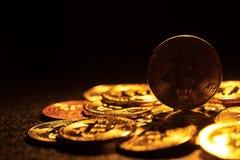 Bitcoin. Crypto currency Gold Bitcoin, BTC, Bit Coin.Macro shot of Gold Bitcoin coins. Cryptocurrency trading concept.  stock photos