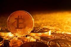 Bitcoin. Crypto currency Gold Bitcoin, BTC, Bit Coin.Macro shot of Gold Bitcoin coins. Cryptocurrency trading concept.  royalty free stock photos