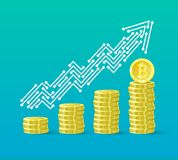 Bitcoin crypto currency growth chart of the financial system is growing. Bitcoin course. The line of the upward trend. Arrow in the form of tracks on the board Royalty Free Stock Photography