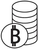 Bitcoin crypto currency icon or logo  over a pile of coins stack. Symbol for bank or banking on a digital economy with virtual cash and currencies used for Royalty Free Stock Image