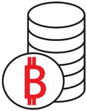 Bitcoin crypto currency icon or logo  over a pile of coins stack. Symbol for bank or banking on a digital economy with virtual cash and currencies used for Royalty Free Stock Photos
