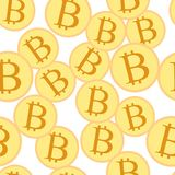 Bitcoin crypto currency pattern. Bitcoin crypto currency seamless pattern vector illustration Royalty Free Stock Images