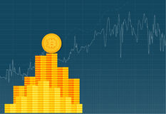 Bitcoin crypto currency stick graph chart of stock market investment trading  Royalty Free Stock Image