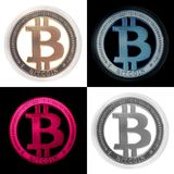Bitcoin Crypto Currency collage. Bitcoin Crypto Currency virtual coins money collage stock photo