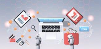 Bitcoin Crypto del concepto de la cadena de bloque del bot del comercio de divisas que mina las manos robóticas usando el ordenad ilustración del vector