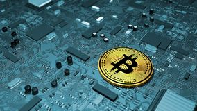 Bitcoin, crypto waluta, elektroniczny pieniądze, wirtualna waluta, przemiany Obraz Royalty Free