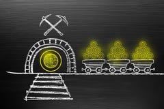 Bitcoin Cryptocurrency概念 在有白垩乱画的黑板上, 免版税库存图片