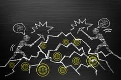 Bitcoin Cryptocurrency概念 在有白垩乱画的黑板上, 图库摄影