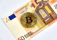Bitcoin cryptocurrency硬币 免版税库存图片