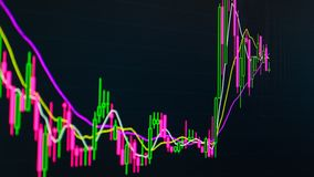 Bitcoin cryptocurrency股市数据在市场交换的图图表 皇族释放例证