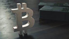 Bitcoin cryptocurrency金属标志 3d?? 库存图片