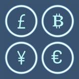 Bitcoin Cryptocurrency и вектор значков иен установленный иллюстрация вектора