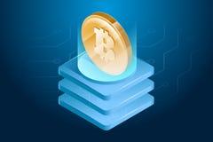 Bitcoin cryptocurrency 数字式或电子货币 Blockchain技术和采矿过程 免版税库存照片