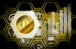 Bitcoin cryptocurrency background internet symbol globe conection. Earth Stock Photos