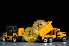 Bitcoin-cryptocurrency Bergbaukonzept Blockchain-Technologie MI Lizenzfreie Stockfotografie