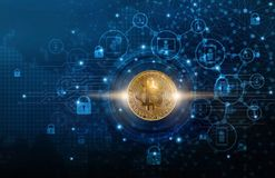 Bitcoin cryptocurrency with blockchain network connection and microcircuit icon on global virtual screen. Blockchain technology an Stock Images
