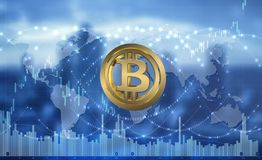 Bitcoin cryptocurrency blockchain technology abstract background .3D ilustration. Bitcoin cryptocurrency blockchain technology abstract background stock illustration