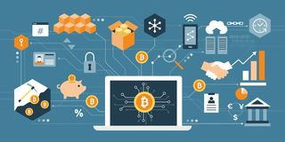 Bitcoin and cryptocurrency stock illustration