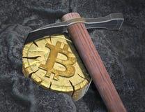 Bitcoin Cryptocurrency bryta Royaltyfria Foton