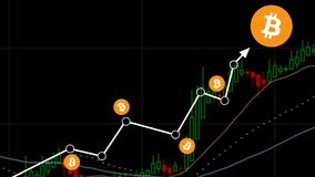 Bitcoin Chart Candle Stick Isolated Black Background. Bitcoin / cryptocurrency concept chart, showing upward trend with btc logo Royalty Free Stock Photography