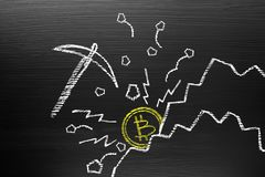 Bitcoin Cryptocurrency Concept. On Blackboard With Chalk Doodle, Infographics Are Visual Representations Stock Photo