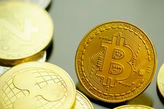Bitcoin Cryptocurrency Digital Bit Coin BTC Currency Technology Stock Images