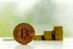 Bitcoin Cryptocurrency Digital Bit Coin BTC Currency Technology Stock Photos