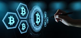 Bitcoin Cryptocurrency Digital Bit Coin BTC Currency Technology Business Internet Concept stock illustration