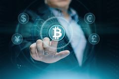 Bitcoin Cryptocurrency Digital Bit Coin BTC Currency Technology Business Internet Concept Royalty Free Stock Images