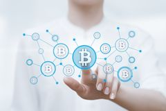 Bitcoin Cryptocurrency Digital Bit Coin BTC Currency Technology Business Internet Concept Stock Images