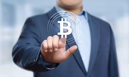 Bitcoin Cryptocurrency Digital Bit Coin BTC Currency Technology Business Internet Concept.  Stock Photo