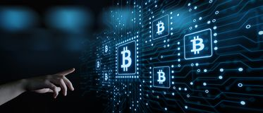 Bitcoin Cryptocurrency Digital Bit Coin BTC Currency Technology Business Internet Concept.  Royalty Free Stock Images