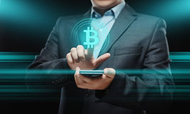 Bitcoin Cryptocurrency Digital Bit Coin BTC Currency Technology Business Internet Concept. Stock Photos