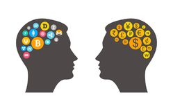 Bitcoin and Cryptocurrency digital gold  innovation concept with two heads outline. Bitcoin and Cryptocurrency concept design with man head silhouette Stock Image