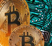 Bitcoin cryptocurrency digital pcb circuit background royalty free stock photos