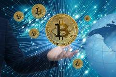 Bitcoin Cryptocurrency Digital Währungs-Technologie der Stückchen-Münzen-BTC stockfoto
