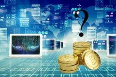 Bitcoin Cryptocurrency Digital Währungs-Technologie der Stückchen-Münzen-BTC stockfotografie