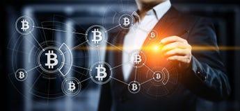 Bitcoin Cryptocurrency Digital Währungs-Technologie-Geschäfts-Internet-Konzept der Stückchen-Münzen-BTC stockbilder