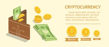 Bitcoin. Cryptocurrency. Digital wallet and finance concept. Wallet, bank note and coins. Flat design vector graphic. royalty free illustration