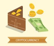 Bitcoin. Cryptocurrency. Digital wallet and finance concept. Wal. Let, bank note and coins. Flat design  graphic Royalty Free Stock Photos