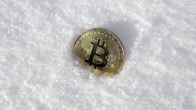 Bitcoin Cryptocurrency en nieve, en el fondo El concepto de trabajar independientemente, la bolsa de acción Bitcoin del oro en fr Imágenes de archivo libres de regalías