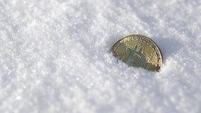 Bitcoin Cryptocurrency en nieve, en el fondo El concepto de trabajar independientemente, la bolsa de acción Bitcoin del oro en fr Imagenes de archivo