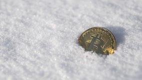 Bitcoin Cryptocurrency en nieve, en el fondo El concepto de trabajar independientemente, la bolsa de acción Bitcoin del oro en fr Fotos de archivo libres de regalías