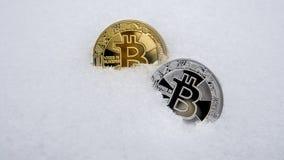 Bitcoin Cryptocurrency en nieve, en el fondo El concepto de trabajar independientemente, la bolsa de acción Bitcoin del oro en fr Imagen de archivo libre de regalías