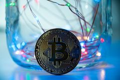 Bitcoin/Cryptocurrency et lumières Photographie stock