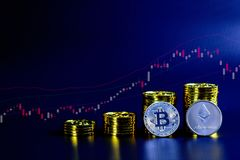 The concept of the bitcoin exchange trading market Royalty Free Stock Photo