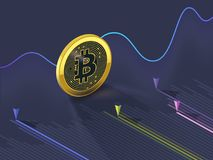 Bitcoin cryptocurrency evolution graph. Bitcoin cryptocurrency rising and falling, changing it`s course on the stock market Stock Photos
