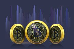 Bitcoin cryptocurrency exchange rate chart on the stock market Royalty Free Stock Images